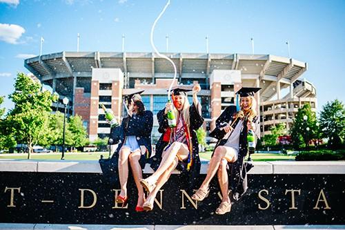 Three girls celebrating their graduation