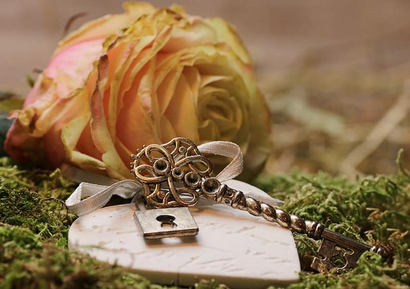 Rose, heart and key