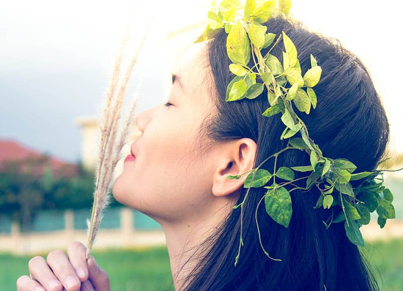 Woman with a flower crown on her head