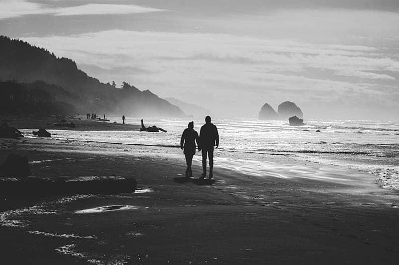 Couple taking a walk on beach