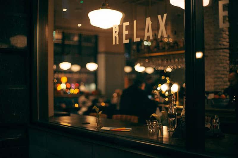 Man sitting in a bar drinking