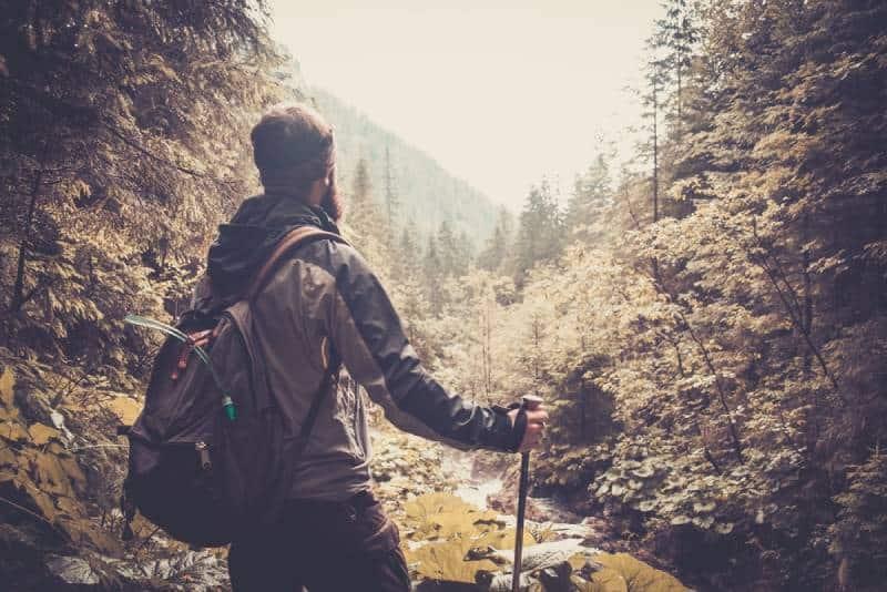 man walking in mountain forest