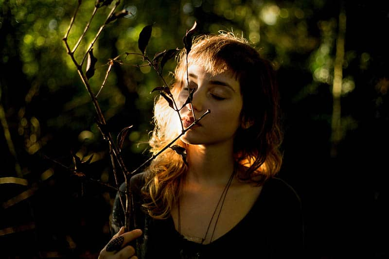 Woman in nature holding a branch