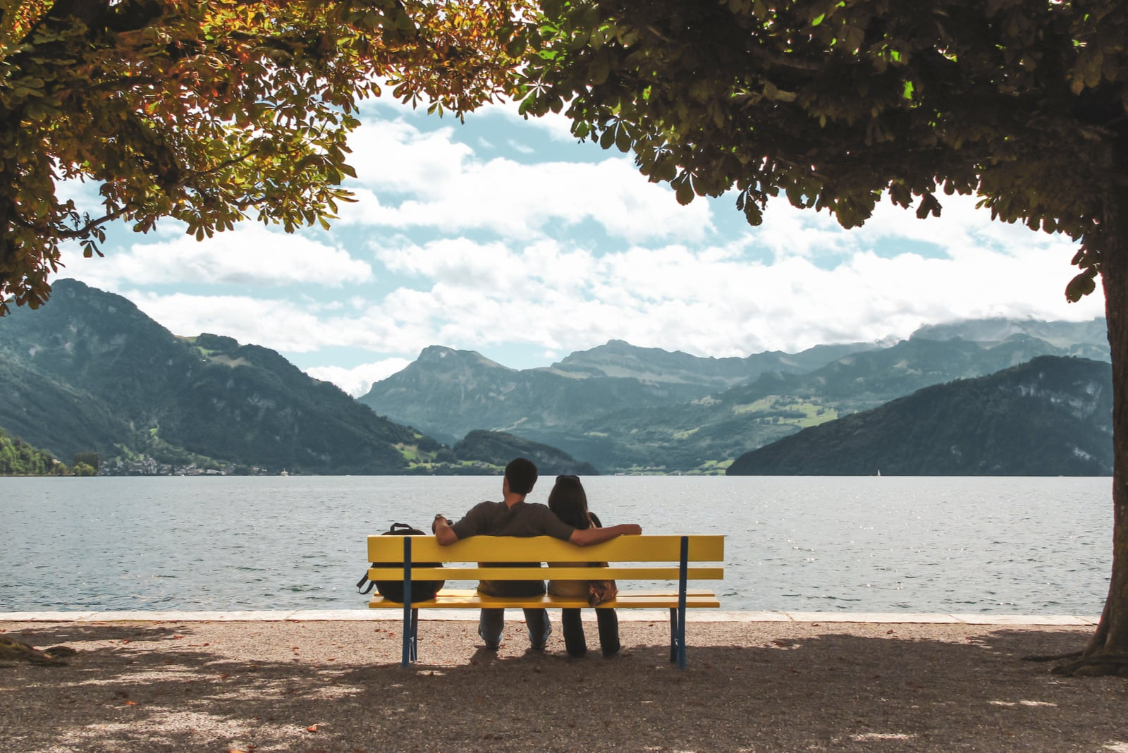 couple sitting on a bench in the shade of trees
