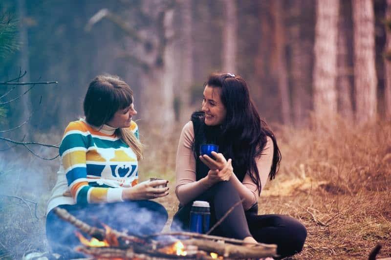 female friends talking in nature