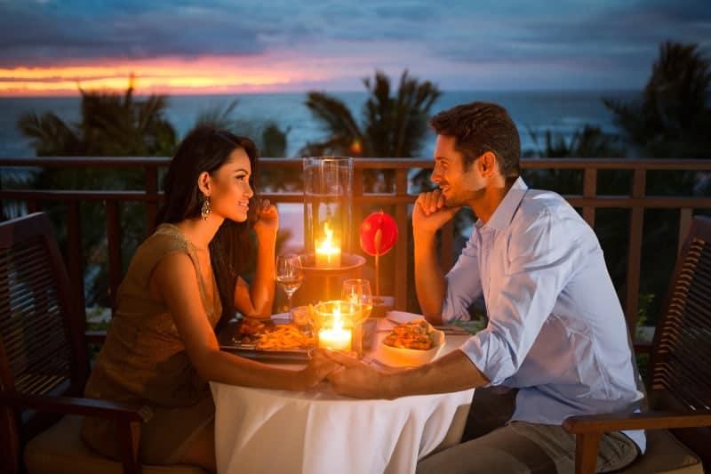 romantic couple having dinner date