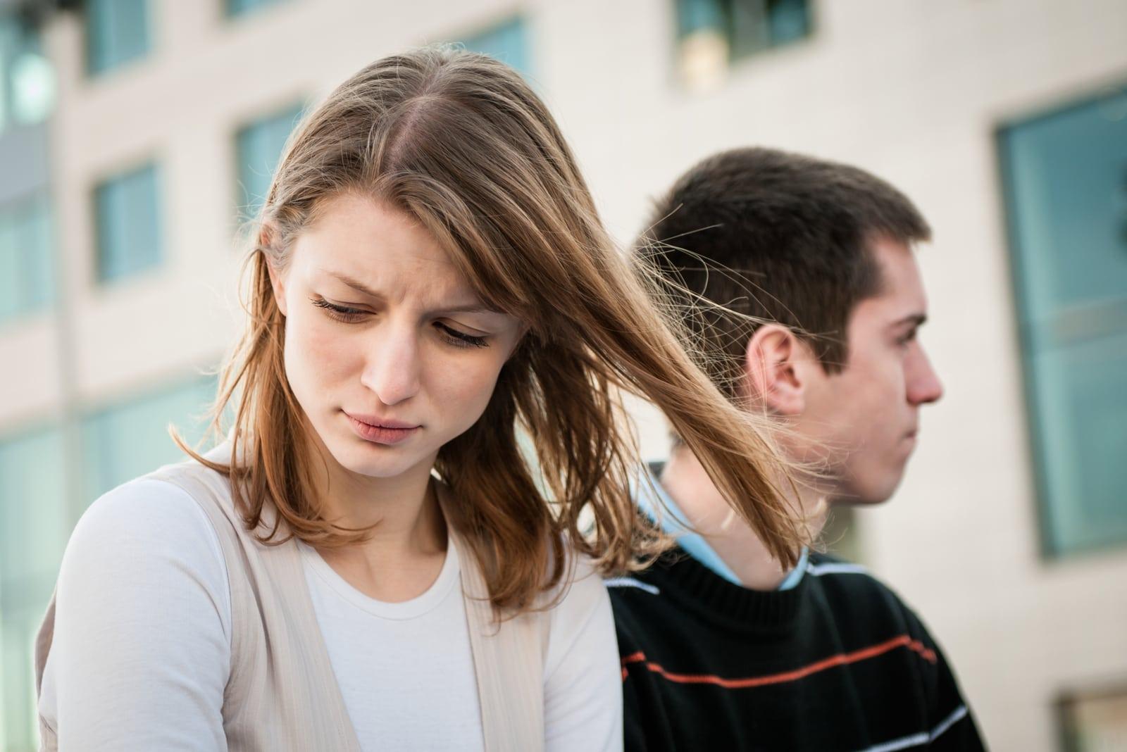 upset and sad young couple