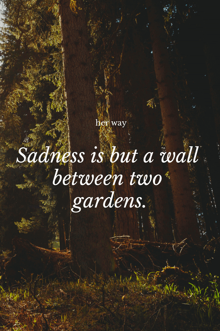 """""""Sadness is but a wall between two gardens."""" ~ Kahlil Gibran"""