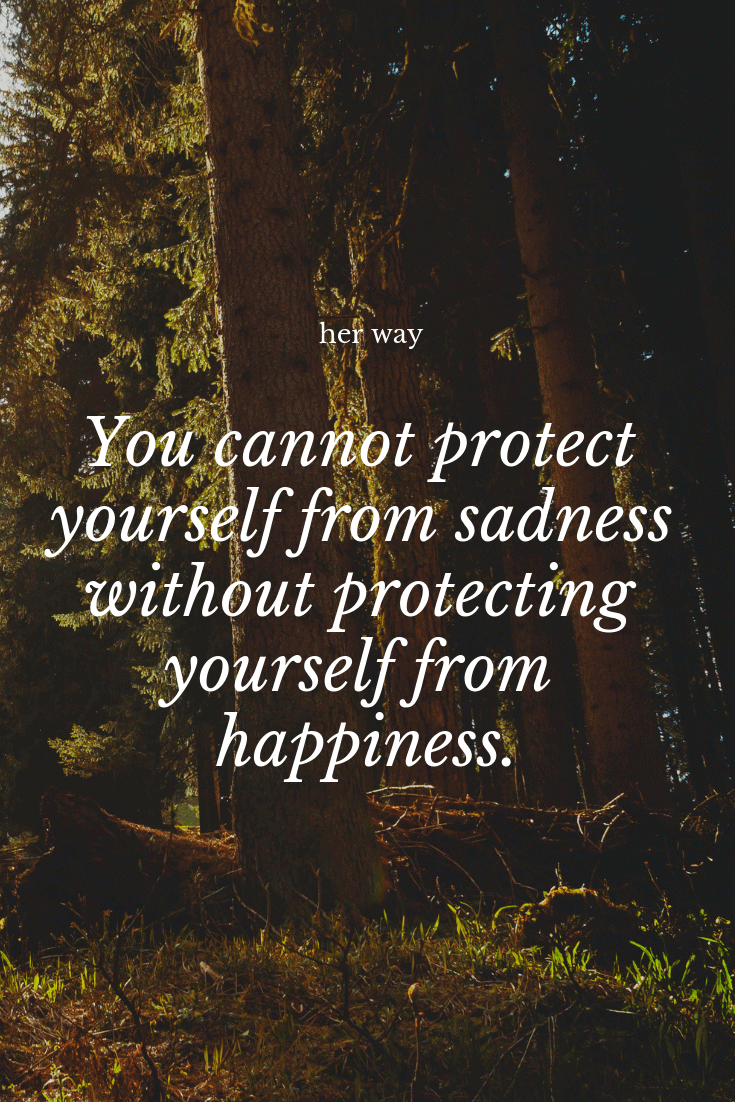 """""""You cannot protect yourself from sadness without protecting yourself from happiness."""" ~ Jonathan Safran Foer"""