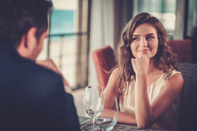 beautiful woman on date with her crush