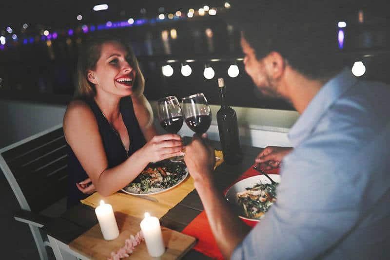 couple having dinner date at restaurant