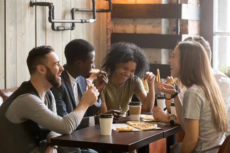friends having fun on lunch