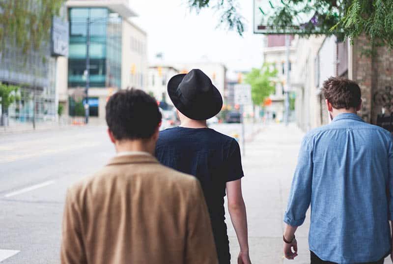 Men walking on the street