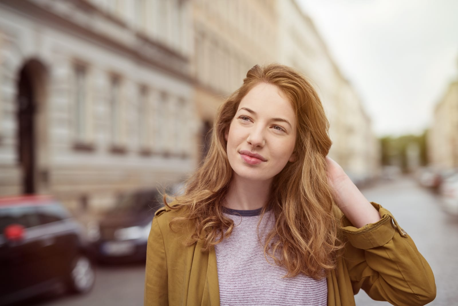 portrait of an attractive young woman on the street