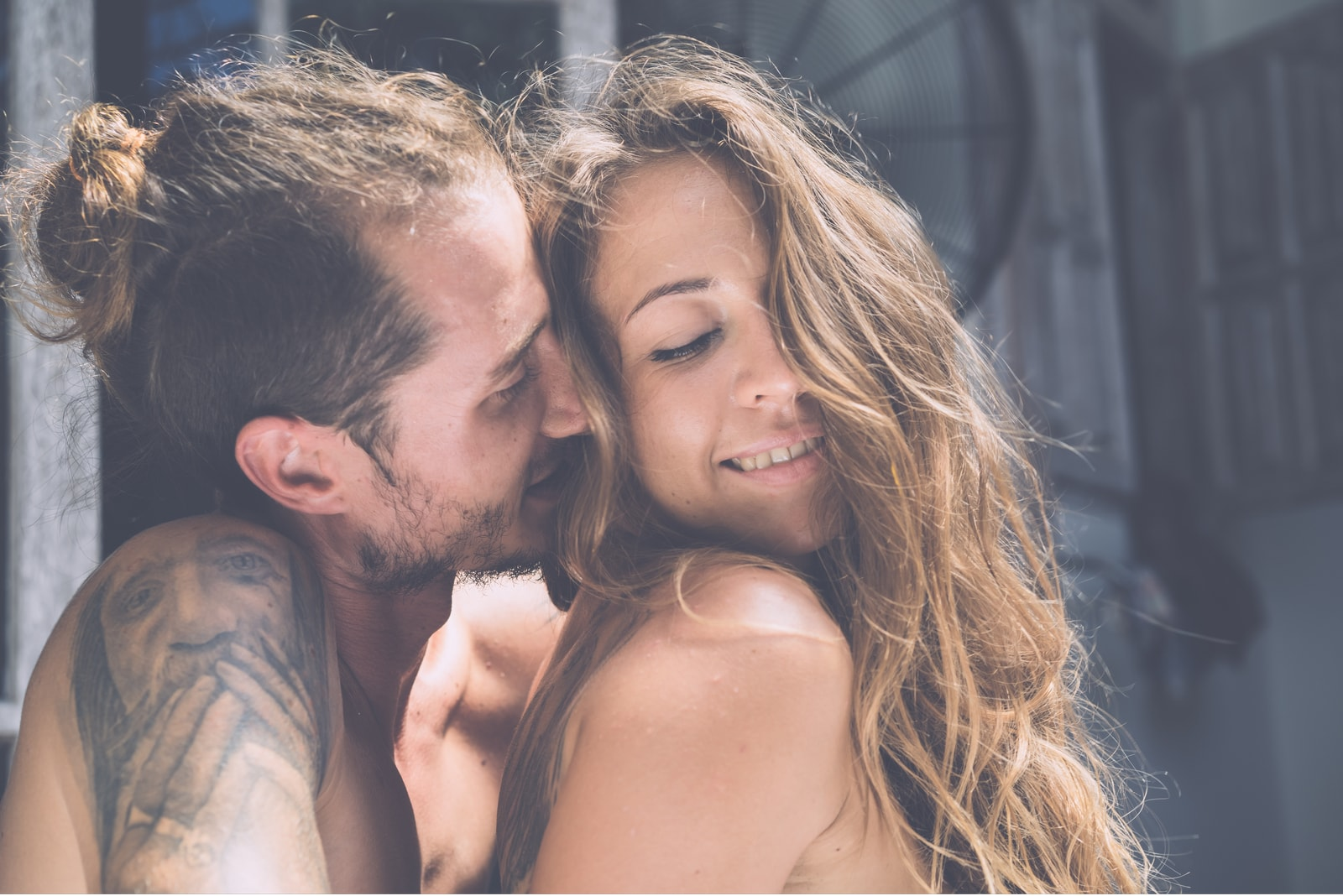 sexy passionate loving couple hugging
