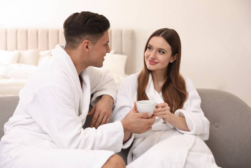 couple having morning coffee at home