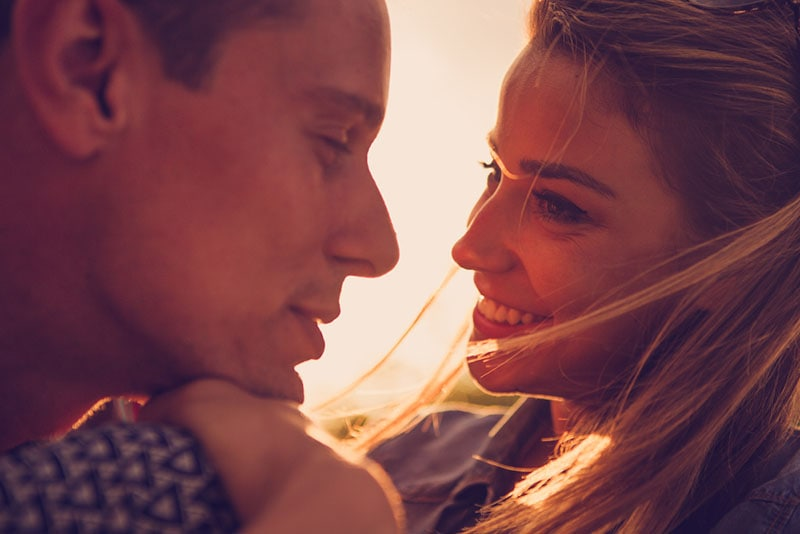 couple in love looking each other into eyes