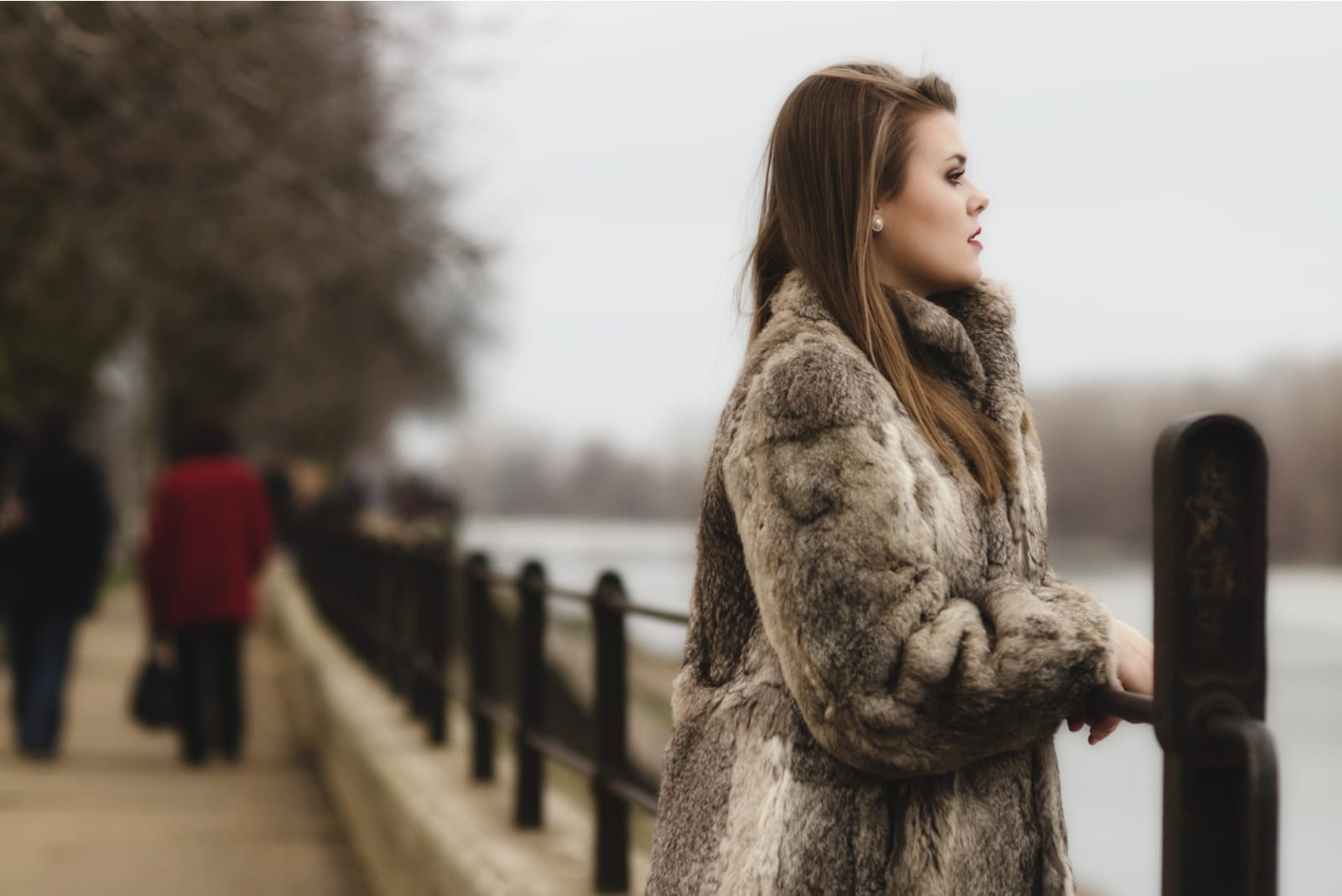 glamorous brunette lady in expensive fur coat