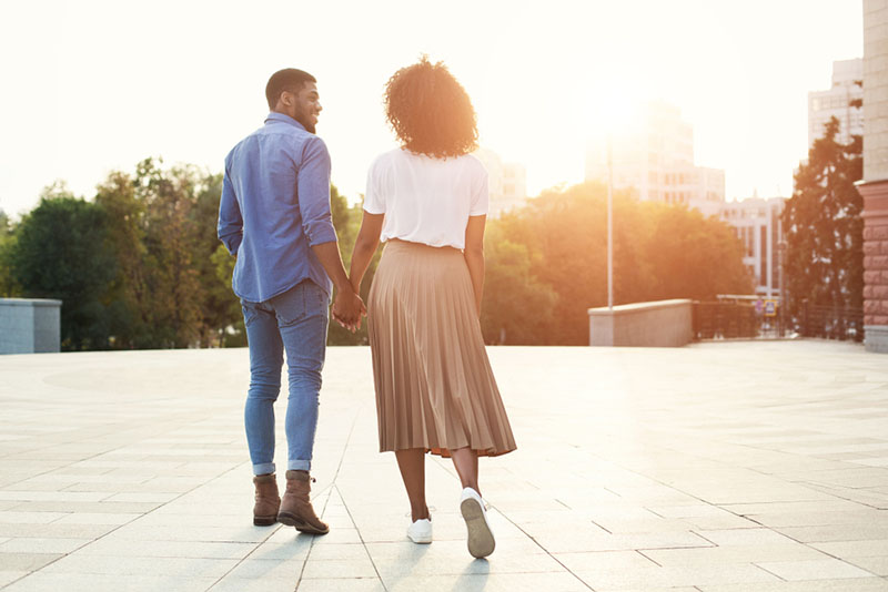 young couple walking outdoor