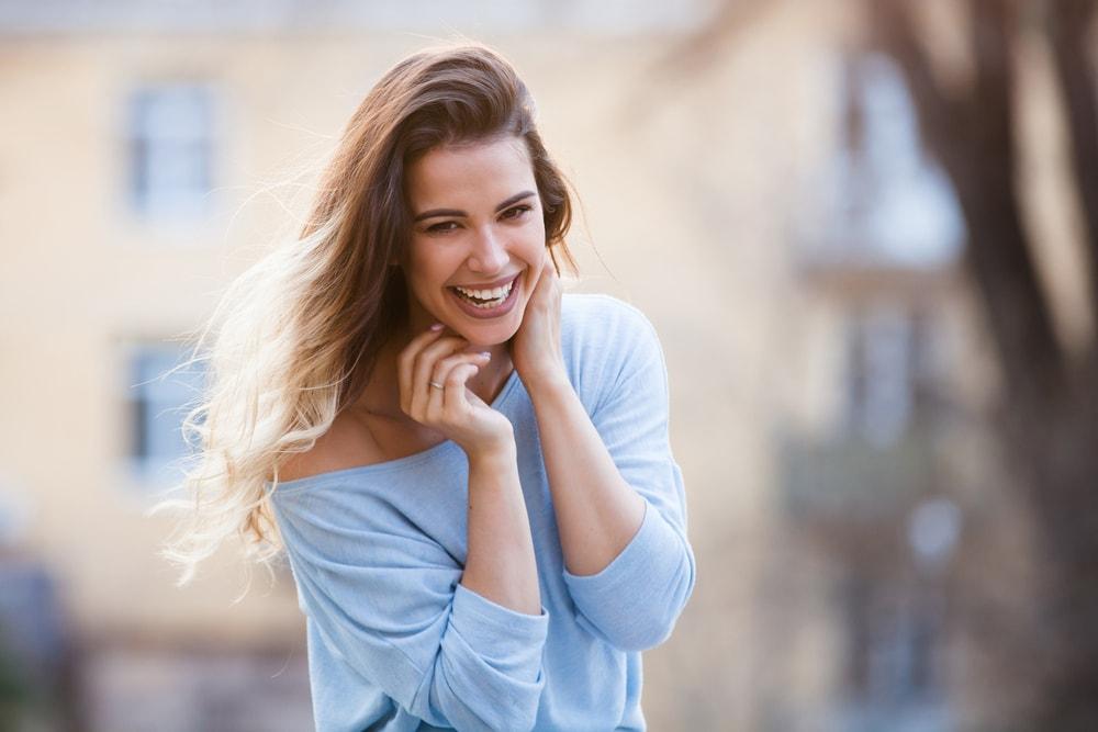 a portrait of a happy smiling woman