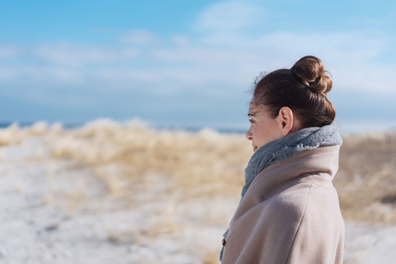 calm woman looking at distance