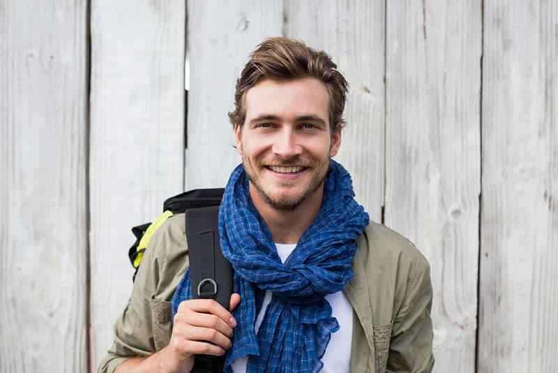 happy man posing at camera