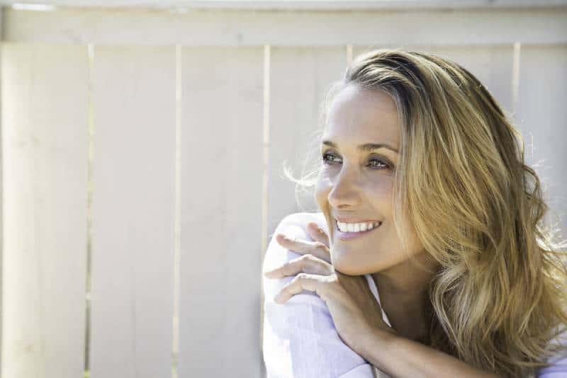 portrait of blond smiling woman