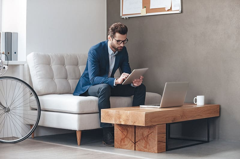 serious man working