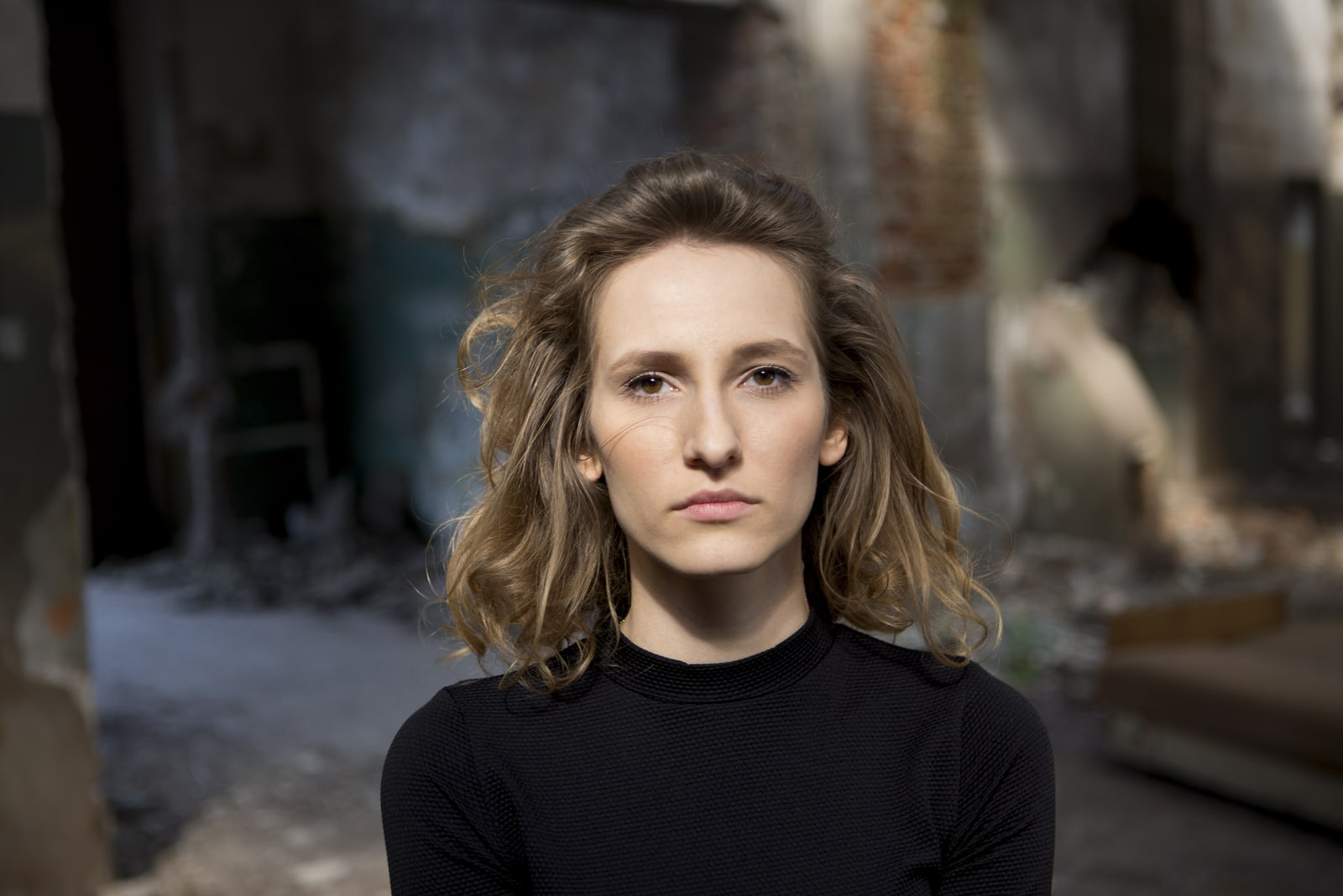 woman with a serious expression on her face