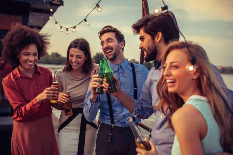 friends having fun on a boat