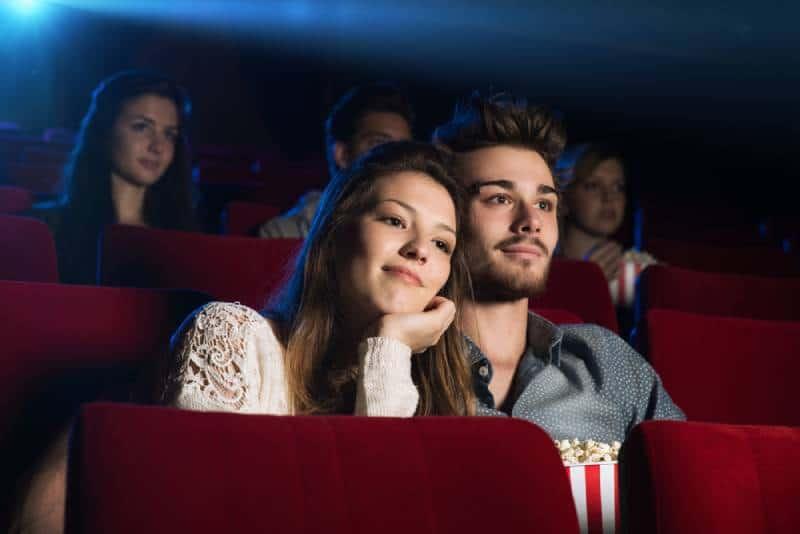 loving couple at the cinema