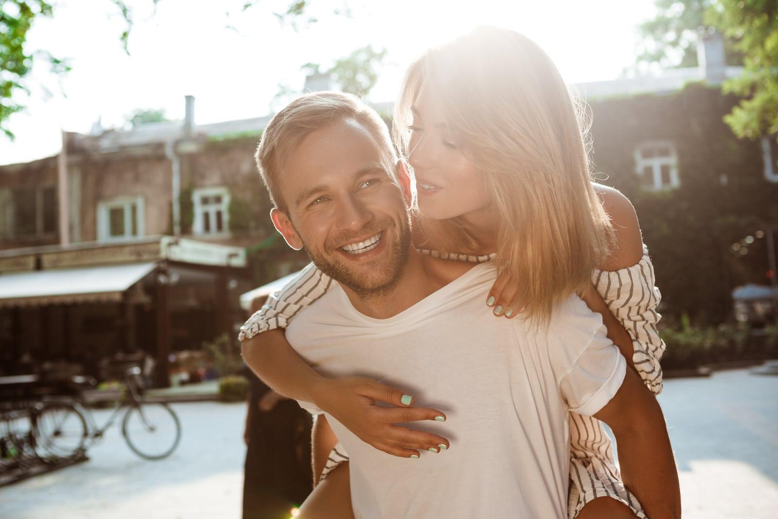 a happy couple in love hug