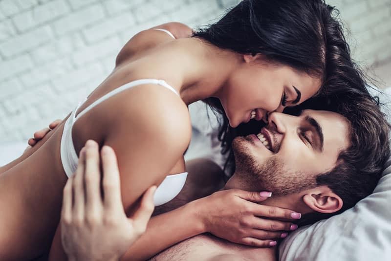 attractive couple kissing passionate