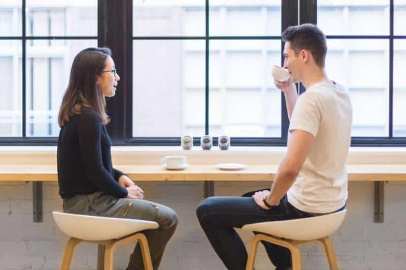 couple talking in office