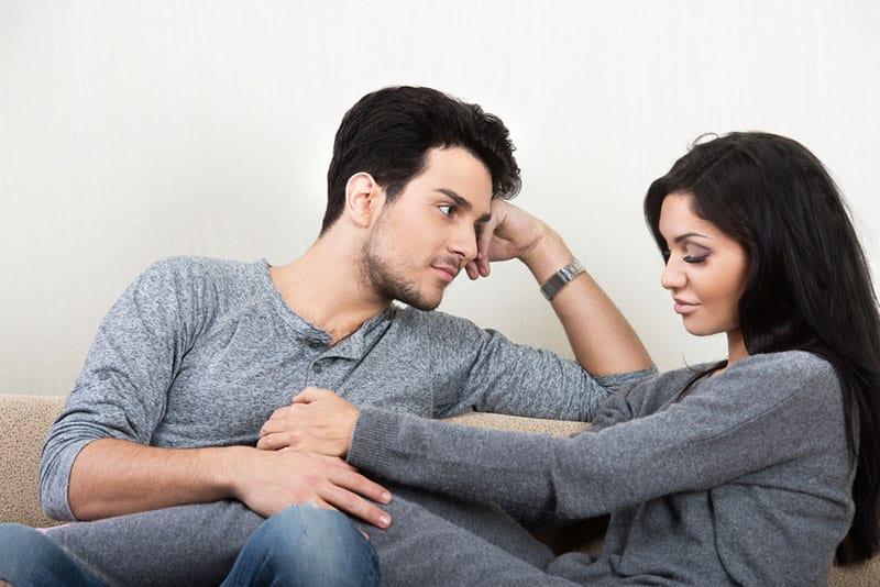 man looking at pretty woman