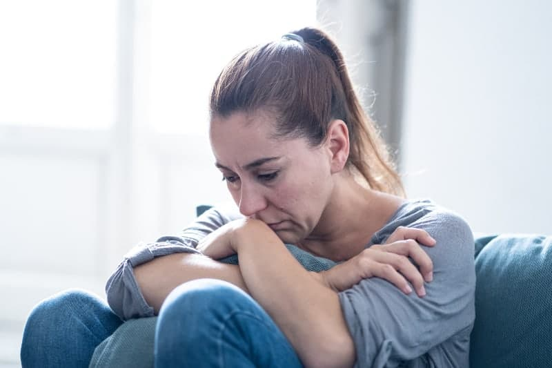 woman crying at home
