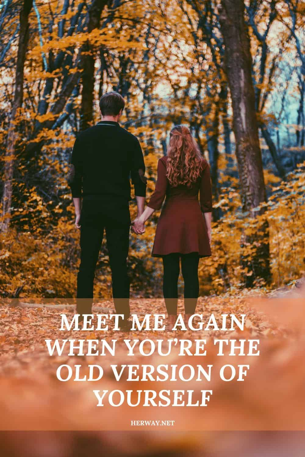 MEET ME AGAIN WHEN YOU'RE THE OLD VERSION OF YOURSELF
