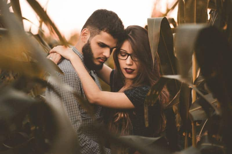 couple hugging in corn field