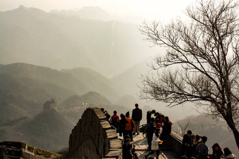 people walking on Great Wall of china during daytime