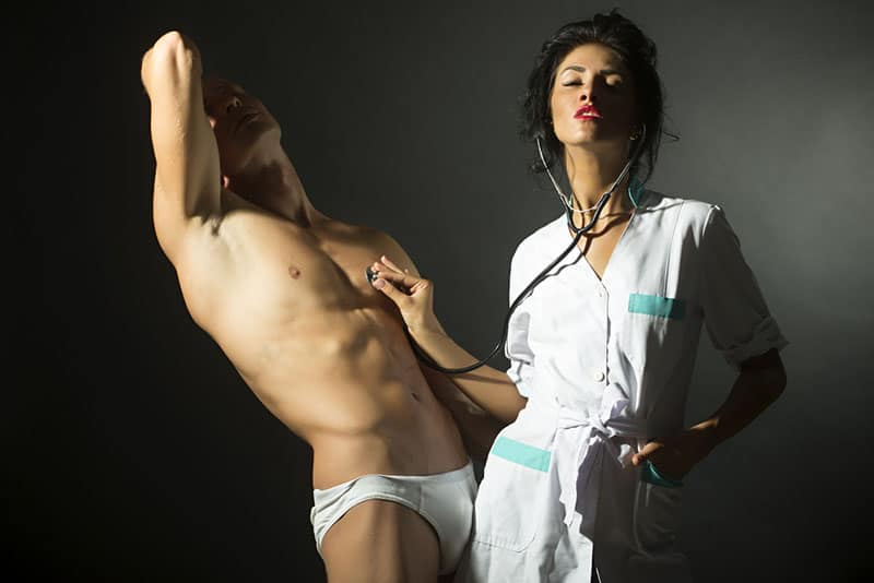 young couple playing sex roles