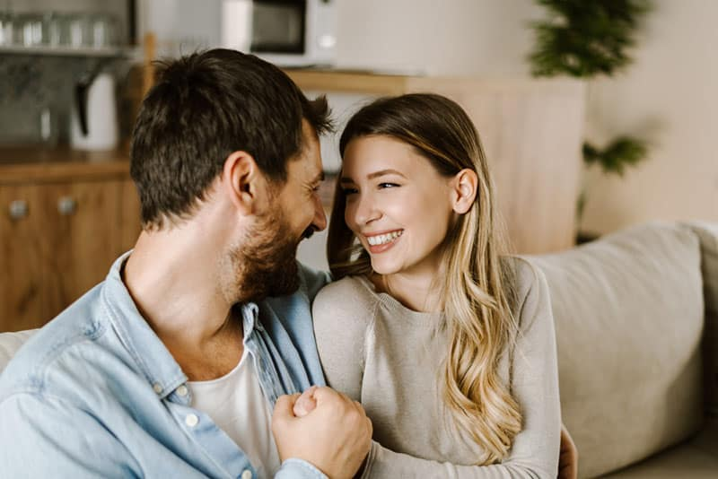 happy couple talking