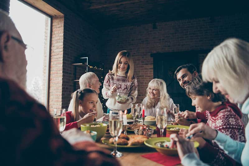 happy family having a dinner together