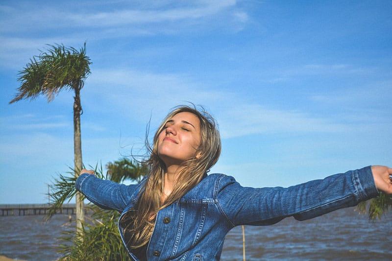 happy woman relaxing outdoor