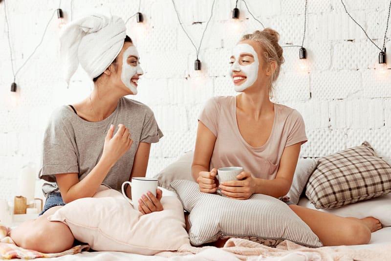 two friends enjoying beauty treatment
