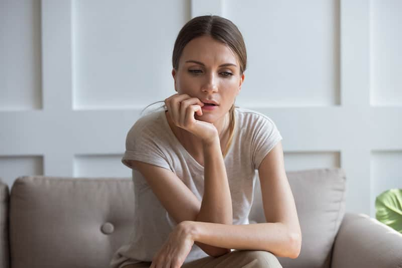 mindful woman staring at one point