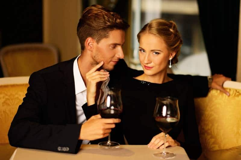 young couple in luxury restaurant