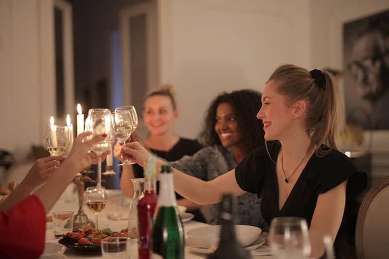 girlfriends having fun on dinner night