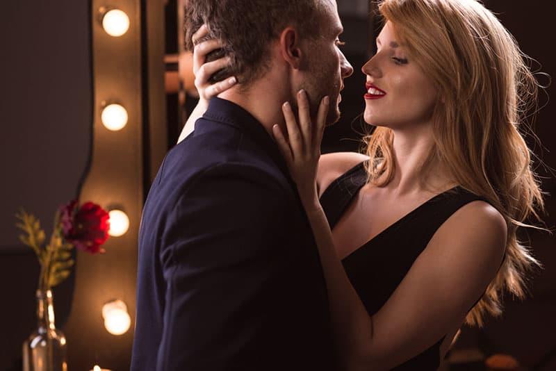 seducive woman flirting with man