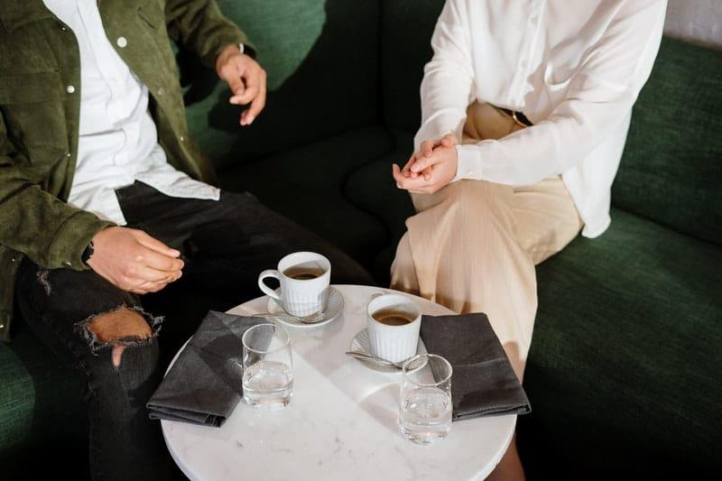 two people having conversation
