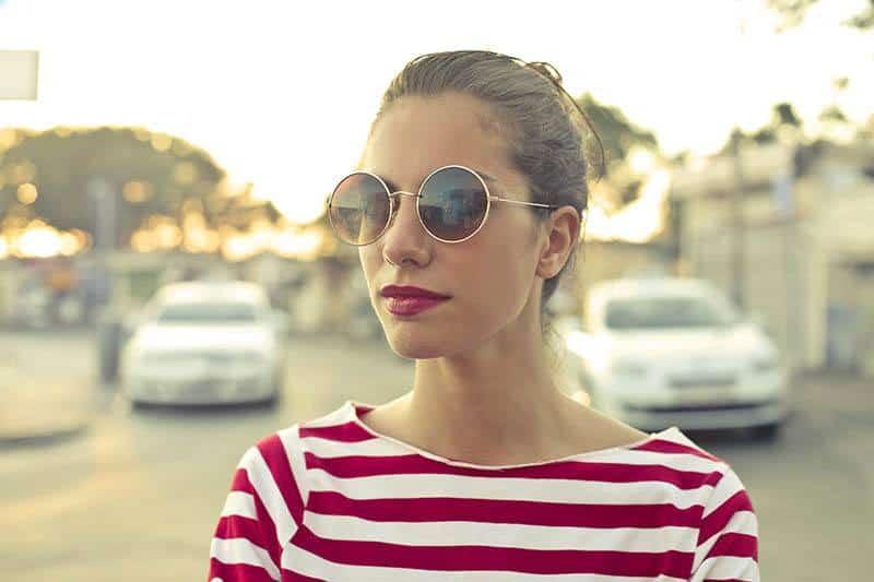 woman wearing sunglasses outside